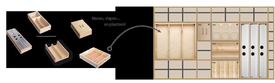 VRI interieur houten laden