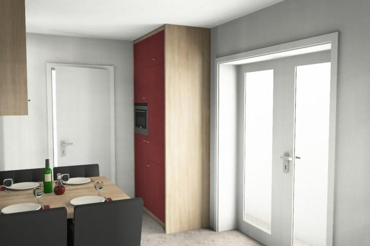 VRI interieurstyling: eiken keuken met rood in 3D interieur impressie