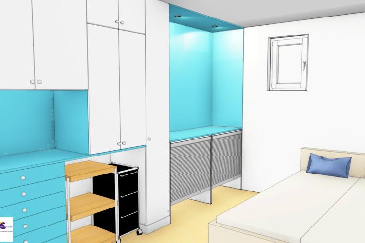 VRI interieur: kastenwand in snoezelkamer van zorginstelling in 3D