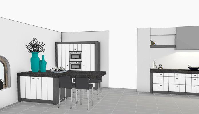 VRI interieur: eiland en hoge kasten keuken 3D