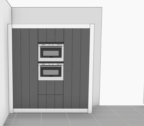 VRI interieur: hoge kasten keuken 3D