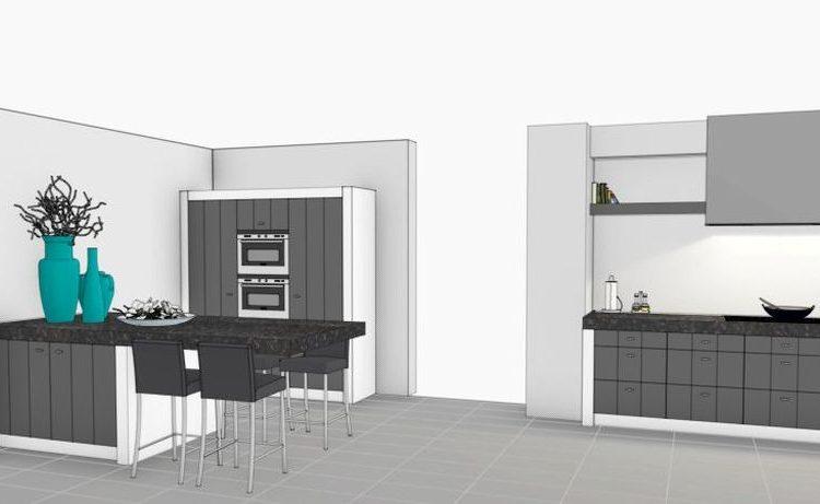 VRI interieurstyling: landelijke keuken in 3D interieur impressie