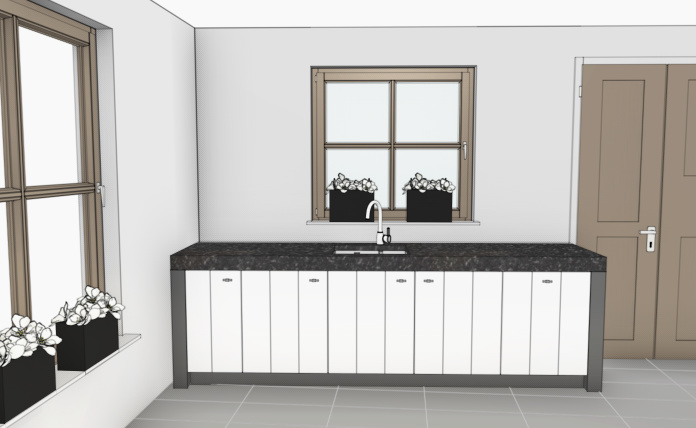 VRI interieur: spoelgedeelte keuken 3D