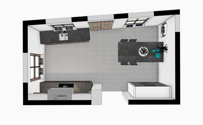 VRI interieur: 3D vogelperspectief keuken