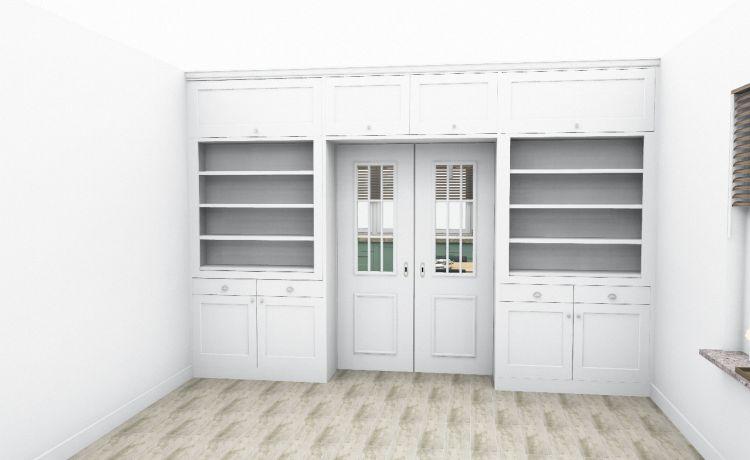VRI interieur: kamer en suite woonkamer in 3D
