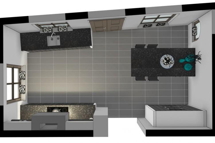 VRI interieurstyling: 3D plattegrond bovenaanzicht