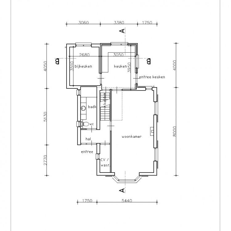 VRI interieur: bouwkundige tekening bestaande situatie