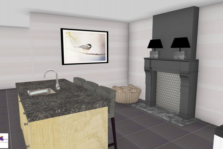 VRI interieurstyling: landelijke keuken met schouw in 3D interieur impressie