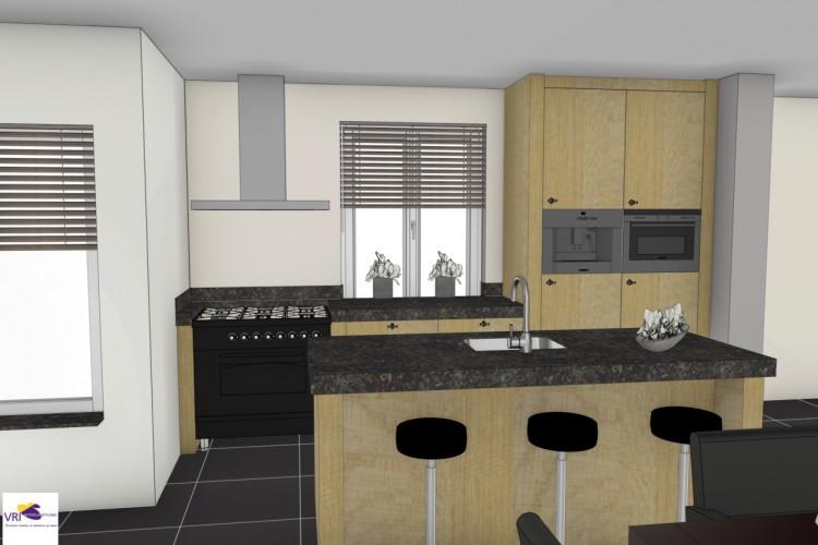 VRI interieur: 3D interieurimpressie eiken keuken landelijke stijl