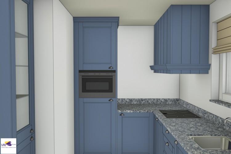 VRI interieur: 3D interieurimpressie blauwe keuken landelijk klassieke stijl